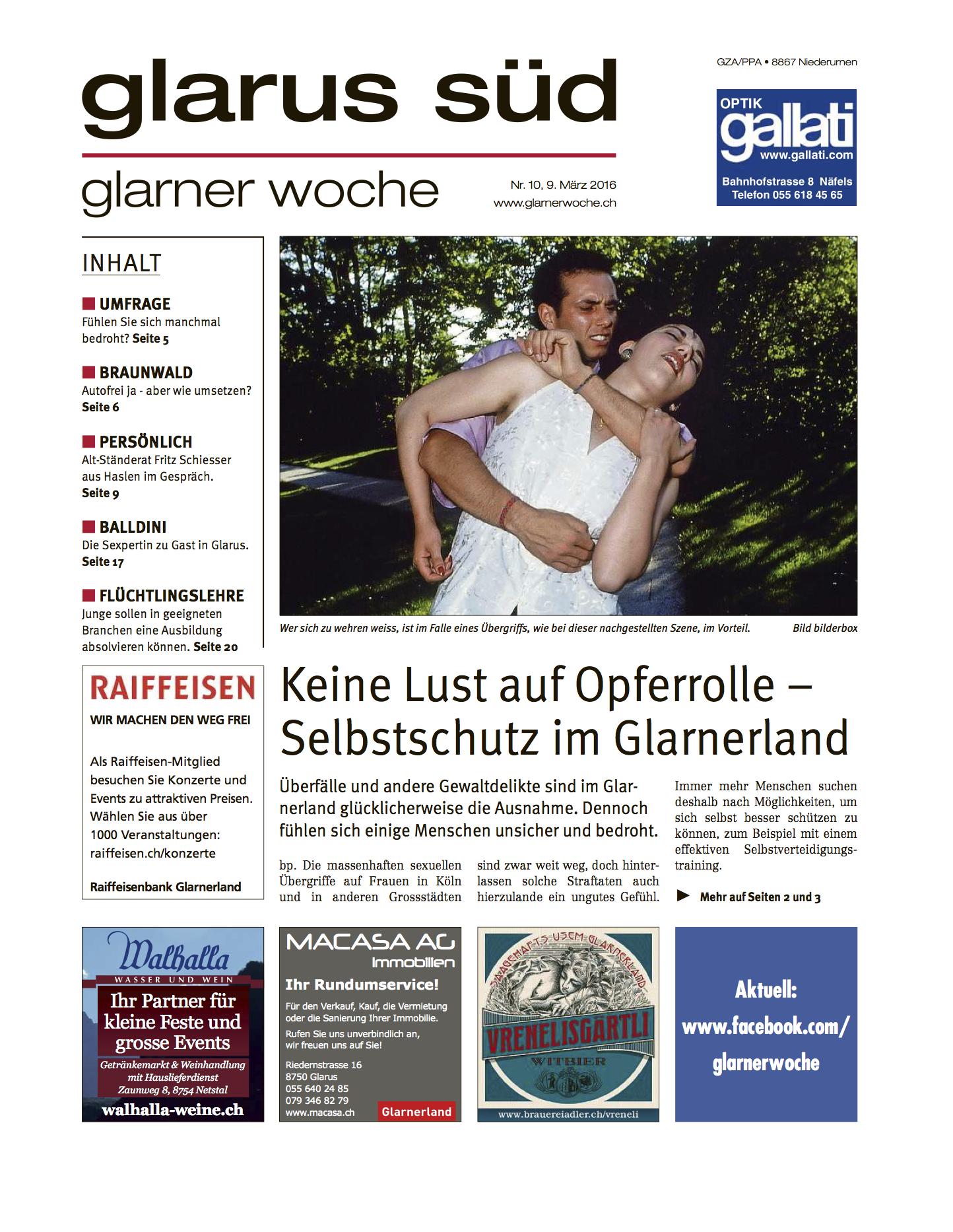 krav-maga-linth_zeitungs-artikel-vorschau-glarner-woche-nord-glarus-sued-anzeiger_2016_selbstverteidigung_niederurnen-glarus