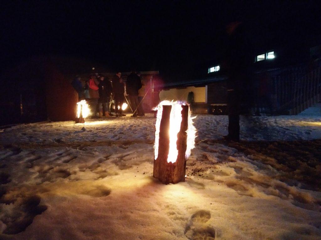 Outdoor-Fondue Krav Maga Linth 2017 Niederurnen, Glarus: brennende Schwedenkerze